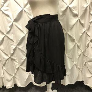 Isabel Marant Black Silk Ruffle Wrap Midi Skirt 4